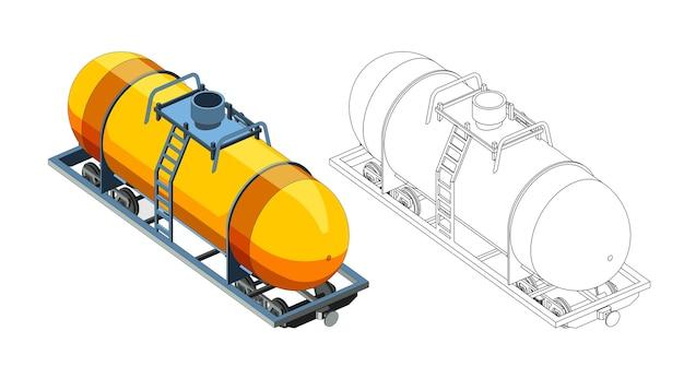 Pagina da colorare di vettore con contenitore di carro modello 3d con gas o benzina. vista frontale isometrica. isolato. pagina da colorare e treno colorato. Vettore Premium
