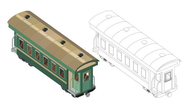 Pagina da colorare vettoriale con carrozza ferroviaria modello passeggeri 3d. vista isometrica. vettore grafico del treno retrò vintage. isolato. pagina da colorare e treno colorato. Vettore Premium