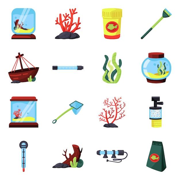 Disegno vettoriale pet e aqua simbolo. impostare animali domestici e accessori Vettore Premium