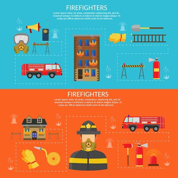Vector piatta illustrazione di carattere antincendio e infografica, ascia, gancio e idrante, elicottero antincendio, tubo flessibile, caserma dei pompieri, autopompa antincendio, allarme antincendio, estintore. Vettore Premium