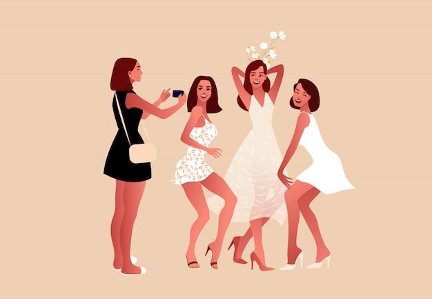 Vector piatta illustrazione. giorno del matrimonio. Vettore Premium