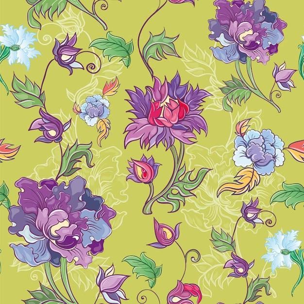 Vector motivo floreale con crisantemo, peonia, aster. tema asiatico. motivo colorato con fiori. Vettore Premium