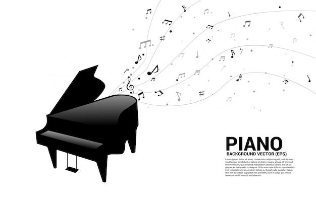 Pianoforte a coda di vettore con flusso di ballo della nota di melodia di musica Vettore Premium