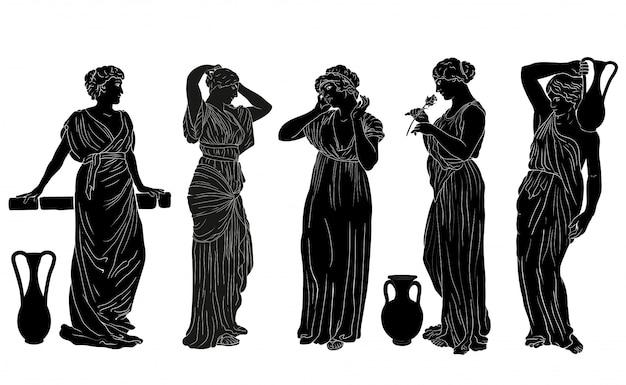Vector donne greche.la figura di una giovane donna snella in una tunica in stile greco antico. Vettore Premium