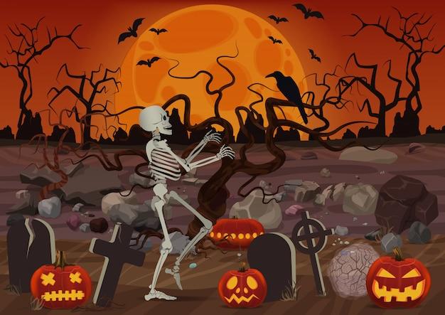 Scheletro di halloween di vettore che cammina vicino al cimitero vicino a zucche e foresta dell'orrore nella notte. Vettore Premium