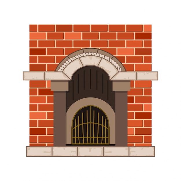 Camino domestico di vettore. design vintage del forno in pietra con elementi decorativi in metallo. icona di design piatto. illustrazione isolata Vettore Premium