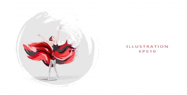 Illustrazione vettoriale ballerina. un giovane, elegante abito da balletto, vestito con un abito professionale, scarpe e una gonna rossa senza peso, dimostra l'abilità di ballare. la bellezza del balletto classico. Vettore Premium