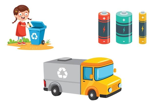 Illustrazione vettoriale del riciclaggio della batteria Vettore Premium
