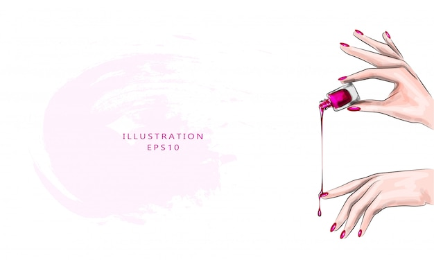 Illustrazione vettoriale bella classica manicure rossa su una mano femminile con smalto. avvicinamento. smalto gocciolante sulle unghie. Vettore Premium