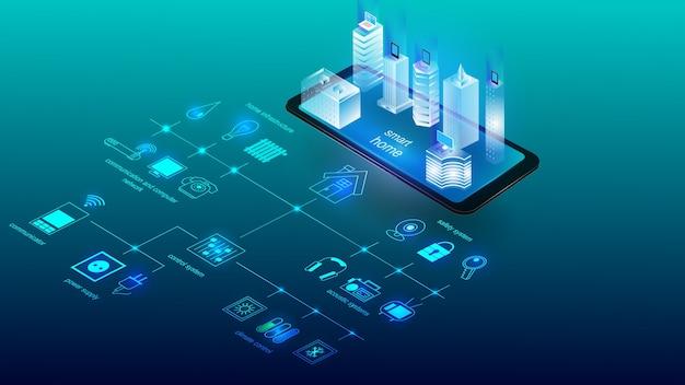 Illustrazione vettoriale di un edificio con elementi di un sistema di casa intelligente. scienza, futuristica Vettore Premium