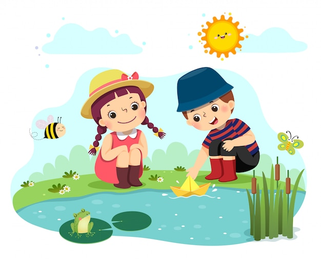 Fumetto di illustrazione vettoriale di due bambini piccoli che giocano con la barca di carta nello stagno. Vettore Premium