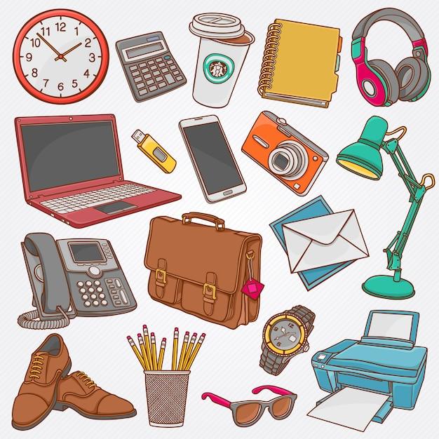Vector la raccolta dell'illustrazione degli scarabocchi disegnati a mano degli oggetti business e degli oggetti dell'ufficio Vettore Premium