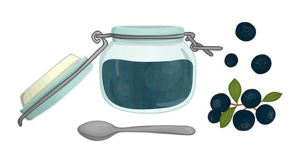 Illustrazione vettoriale di vaso colorato con marmellata di mirtilli. mirtillo, vaso con marmellata d'arance, cucchiaio isolato insieme di vettore degli elementi dell'albero di sorbo isolato. effetto acquerello. Vettore Premium