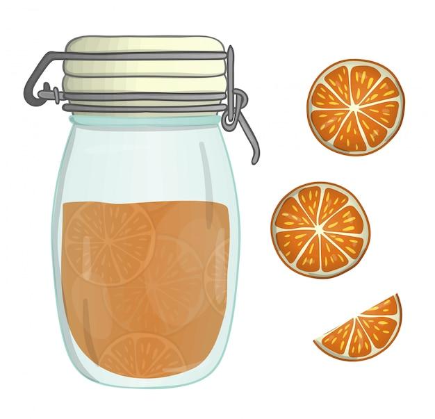 Illustrazione vettoriale di vaso colorato con marmellata di arance. pezzo arancio, vaso con marmellata d'arance, isolato. effetto acquerello. Vettore Premium