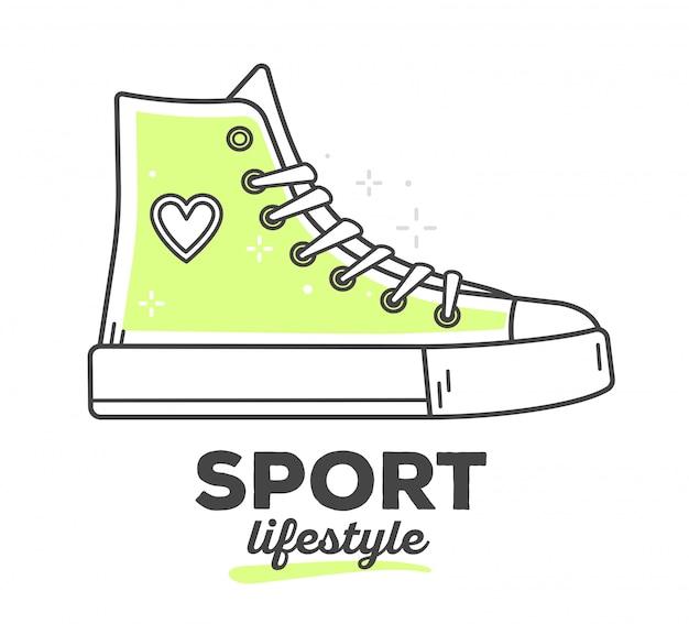 Illustrazione vettoriale di scarpe da ginnastica sportive creative con testo su sfondo bianco. stile di vita sportivo Vettore Premium