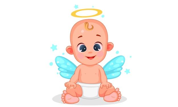 Illustrazione vettoriale di cute baby angel con belle espressioni Vettore Premium