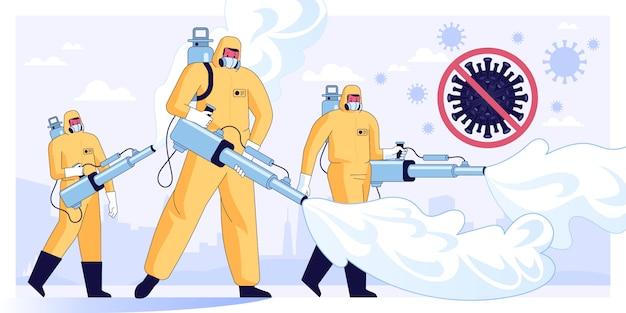 Illustrazione vettoriale di disinfettanti o scienziati medici in maschera protettiva e tute per la pulizia e la disinfezione delle cellule di coronavirus in città misure preventive pandemic mers-cov virus 2019-ncov illustrazione Vettore Premium