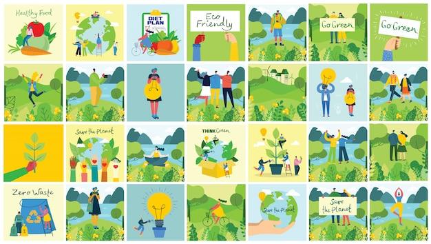 Illustrazione vettoriale sfondi eco del concetto di energia eco verde e preventivo salvare il pianeta, pensare verde e riciclare i rifiuti Vettore Premium