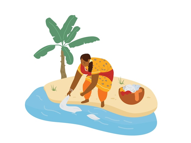 Illustrazione vettoriale di donna indiana in abiti tradizionali facendo il bucato nel fiume. Vettore Premium