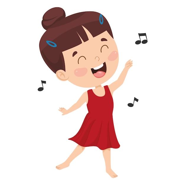 Illustrazione vettoriale di danza del bambino Vettore Premium