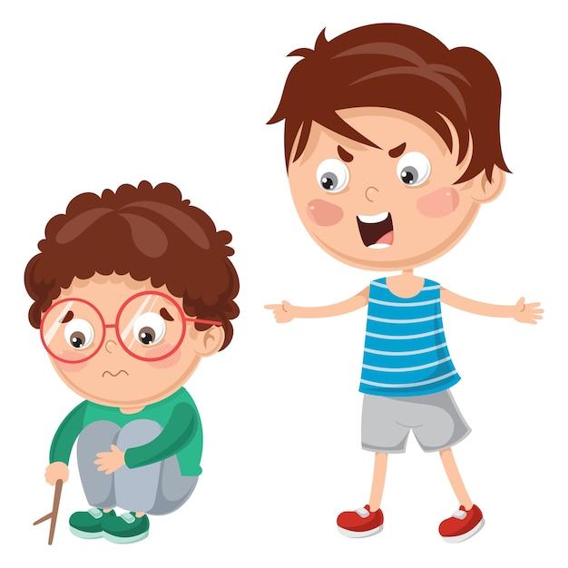 Illustrazione vettoriale di kid gridando al suo amico Vettore Premium