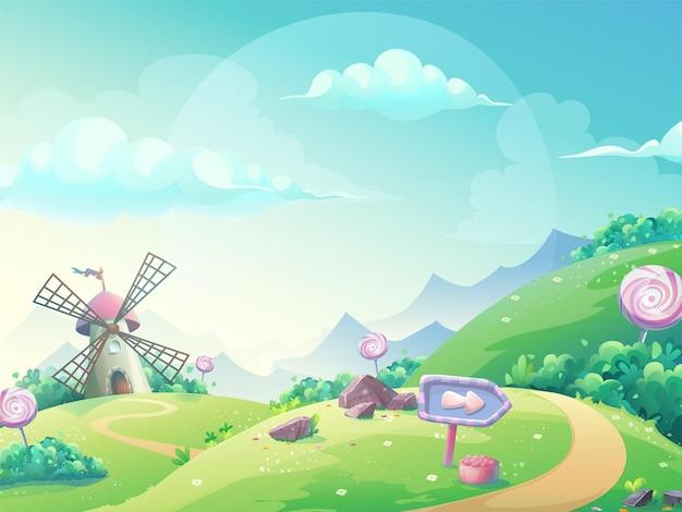 Illustrazione vettoriale di un paesaggio con il mulino di caramelle marmellata. Vettore Premium