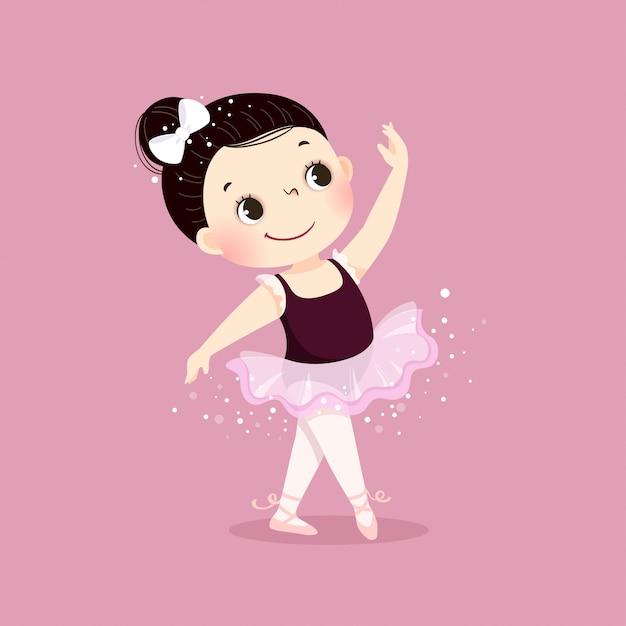 Illustrazione vettoriale di piccola ragazza ballerina danza Vettore Premium