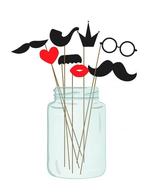 Illustrazione vettoriale di baffi, occhiali, labbra, cuore, corona, tubo sul bastone in un barattolo di vetro. Vettore Premium