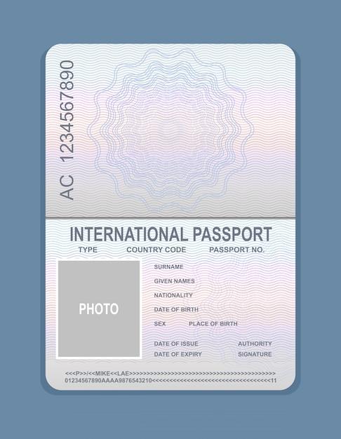 Illustrazione vettoriale di modello di passaporto aperto. documento per il concetto di viaggio, campione di passaporto. Vettore Premium