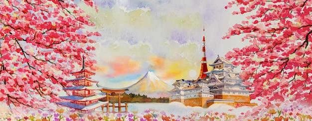 Illustrazione vettoriale dipinti acquerello viaggi monumenti famosi del giappone in asia. monte fuji, bella architettura con sfondo stagione primaverile, popolare città d'affari di attrazione turistica Vettore Premium