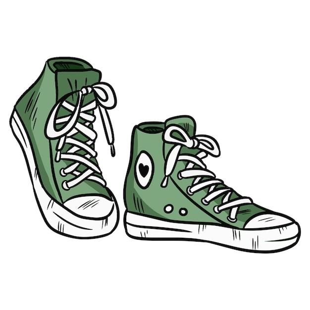 Illustrazione vettoriale paio di sneakers in tessuto a vita bassa con punta in gomma. Vettore Premium