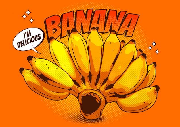 Illustrazione vettoriale di un disegno realistico banana verde, stile fumetto. Vettore Premium
