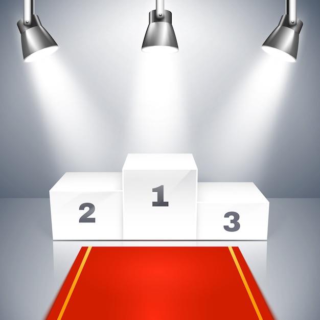 Illustrazione vettoriale di un tappeto rosso che porta a un podio vuoto dei vincitori con tre posti illuminati da faretti metallici in testa Vettore Premium