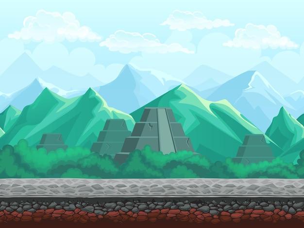 Fondo senza cuciture dell'illustrazione di vettore della piramide nelle montagne color smeraldo. Vettore Premium