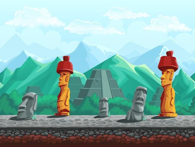 Fondo senza cuciture dell'illustrazione di vettore della statua di pietra, piramide nelle montagne color smeraldo. Vettore Premium
