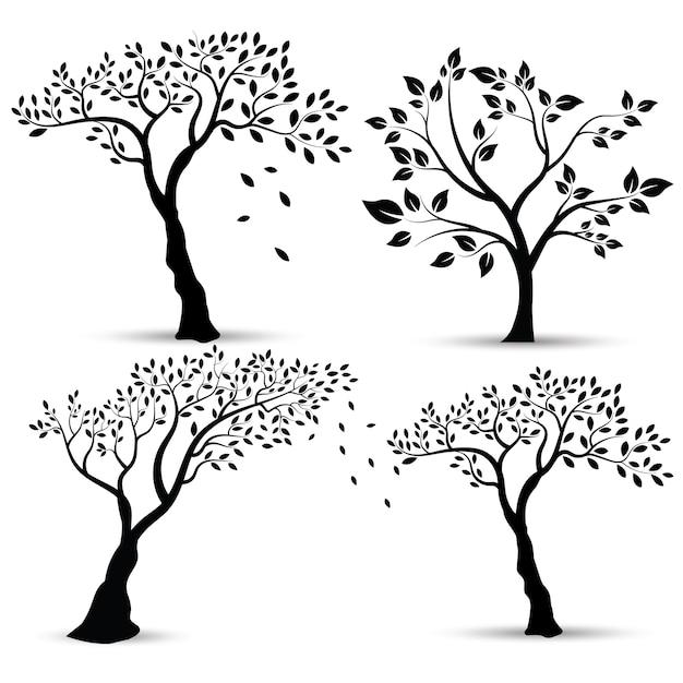 Illustrazione vettoriale: set di sagome di alberi Vettore Premium