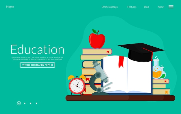 Banner web illustrazione vettoriale per la conoscenza dell'istruzione e corsi di formazione. modello di pagina web di destinazione. Vettore Premium