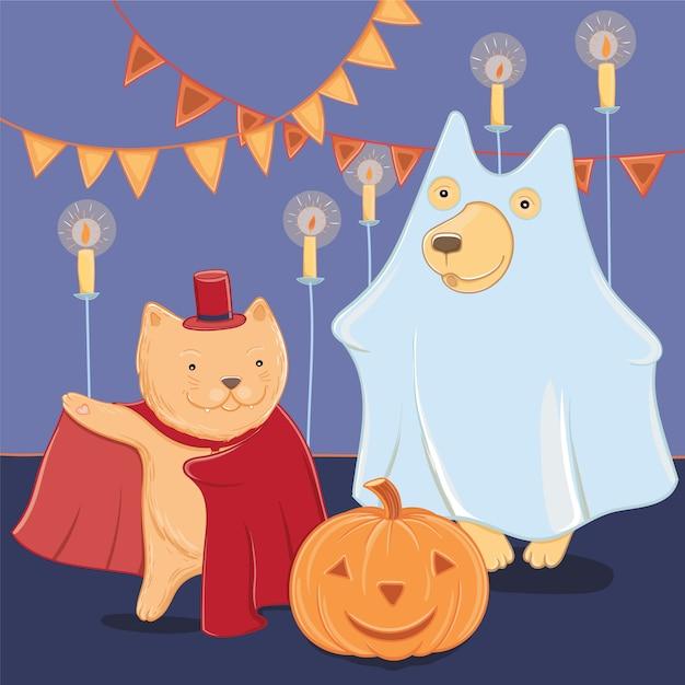 Illustrazione vettoriale con divertente cane e gatto in costumi di halloween. divertimento di halloween per i bambini. modello per biglietto di auguri. Vettore Premium