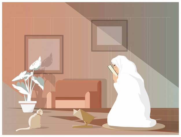 Illustrazione vettoriale di giovane ragazza musulmana bacia il corano o il corano dopo aver studiato l'islam. i musulmani tradizionali studiano o imparano sempre l'islam seguendo la tradizione di maometto. concetto dei musulmani moderni. Vettore Premium