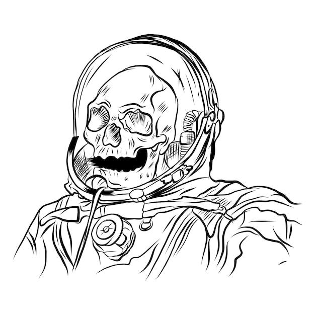 Immagine vettoriale di un teschio nel casco di un astronauta Vettore Premium