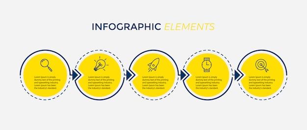 Modello di progettazione infografica vettoriale con 5 opzioni o passaggi Vettore Premium