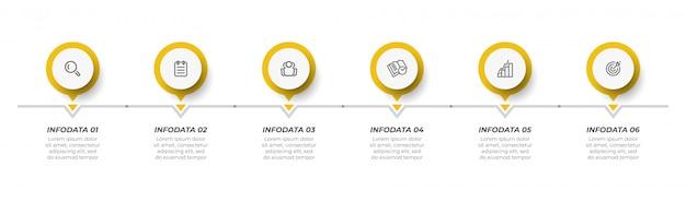 Modello di progettazione infografica vettoriale con cerchio e icona. Vettore Premium