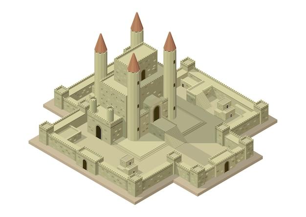 Castello medievale isometrico di vettore con mura, porte e torri. Vettore Premium