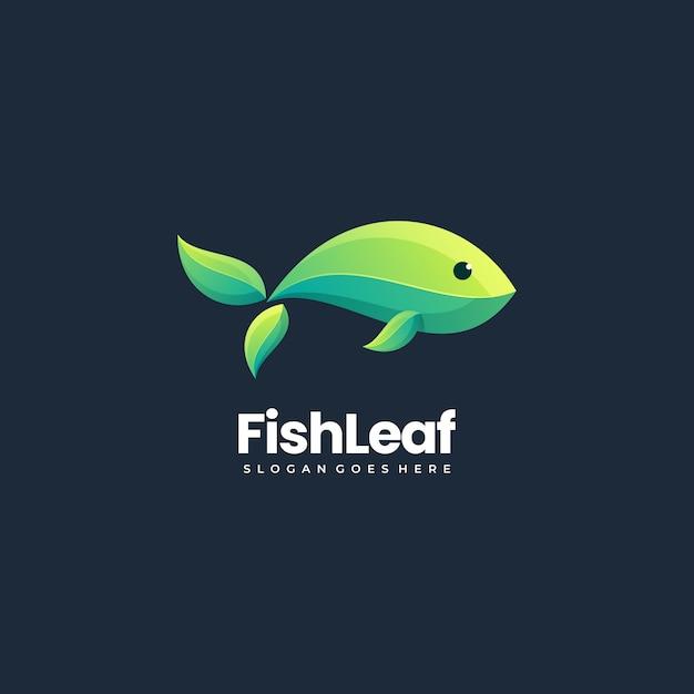Vector logo illustration abstract fish fish formato da foglie impilate stile colorato stile Vettore Premium