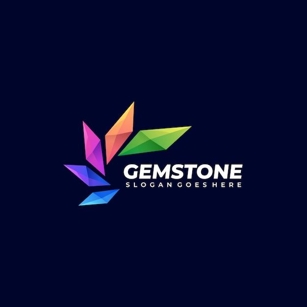 Logo colorato astratto gem stone stacked shape colorful style Vettore Premium