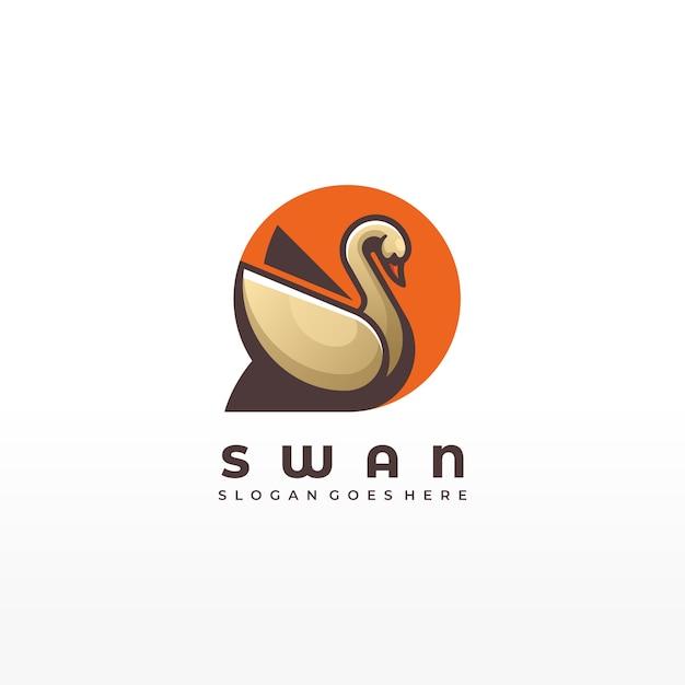 Stile variopinto animale di forma geometrica animale dell'uccello del cigno dell'illustrazione di logo di vettore Vettore Premium