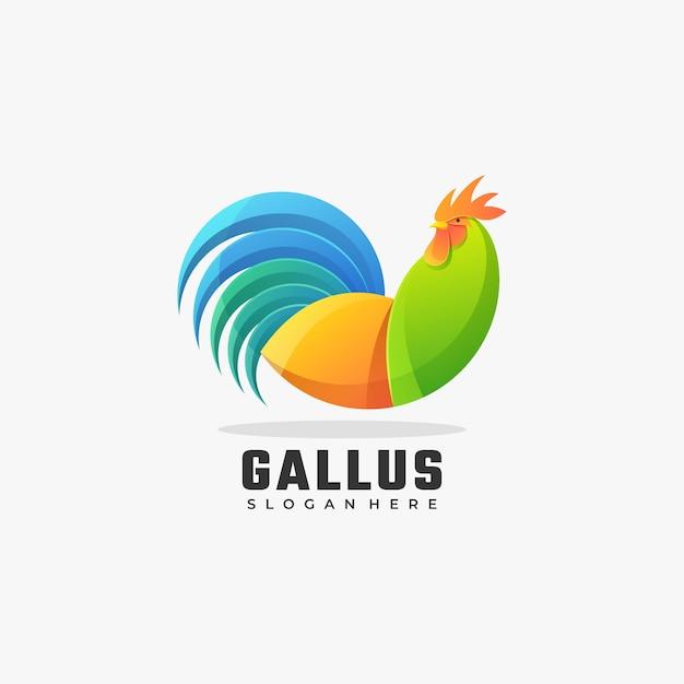 Vector logo illustration gallo gradiente stile colorato. Vettore Premium
