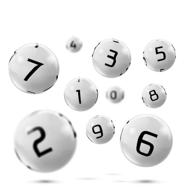 Vector palle da bingo grigio lotto con numeri Vettore Premium
