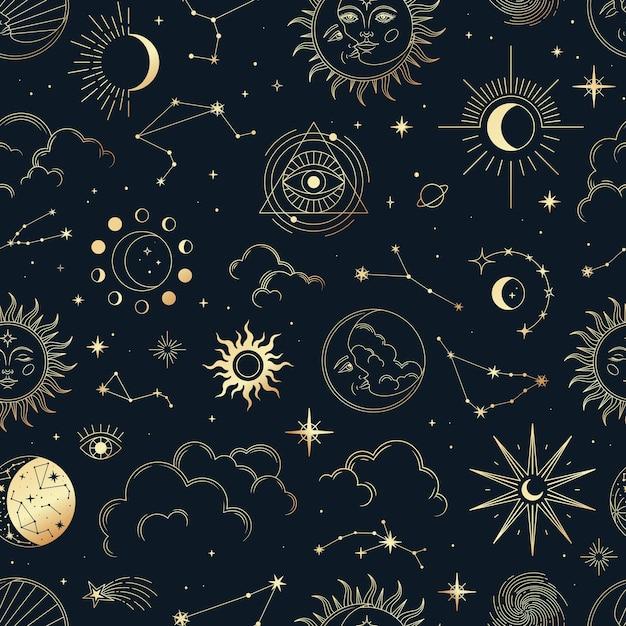 Vector magic seamless pattern con costellazioni, sole, luna, occhi magici, nuvole e stelle. Vettore Premium
