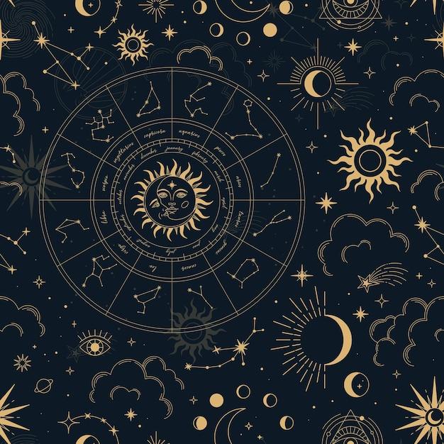 Vector magic seamless pattern con costellazioni, ruota dello zodiaco, sole, luna, occhi magici, nuvole e stelle. Vettore Premium